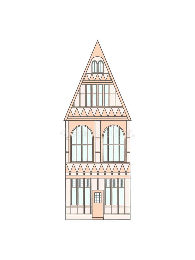 Исторический дом Европы иллюстрация штока