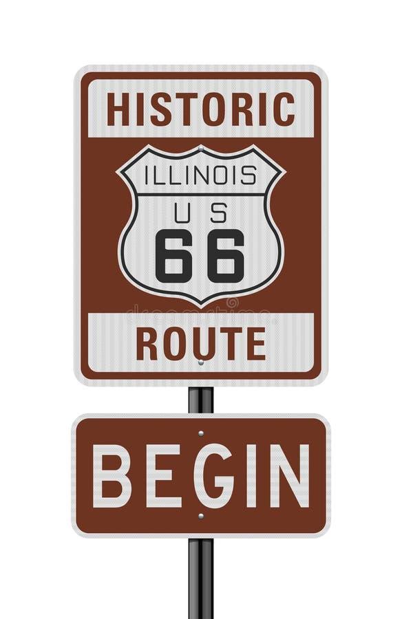 Исторический маршрут 66 начинает дорожный знак бесплатная иллюстрация