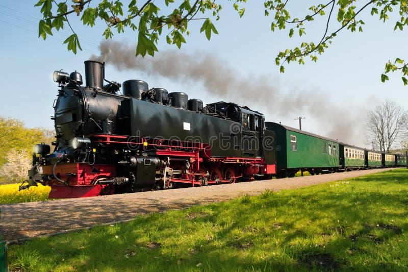 Исторический немецкий поезд пара весной стоковые изображения rf