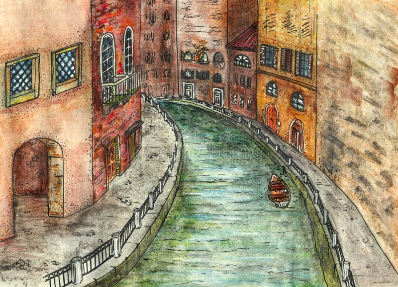 Исторический обваловка городка, канал реки с шлюпкой - нарисованной вручную иллюстрацией бесплатная иллюстрация