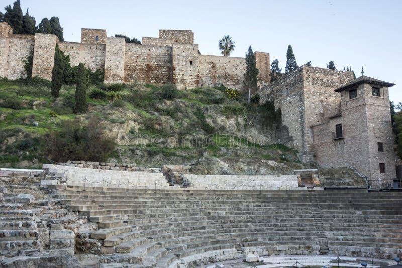Исторический памятник, римский театр и крепость Alcazaba Ла mal стоковое фото