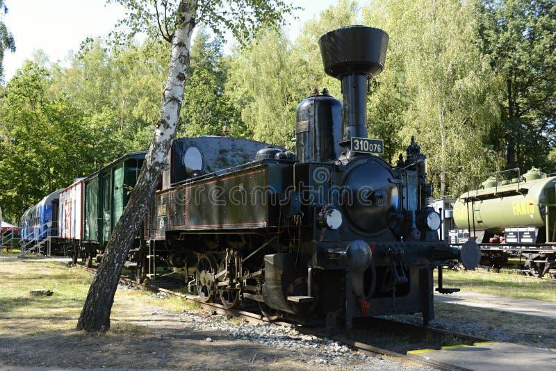 Исторический паровой двигатель в чехословакском музее железных дорог Luzna u Rakovnika, чехии, Европе стоковое изображение rf