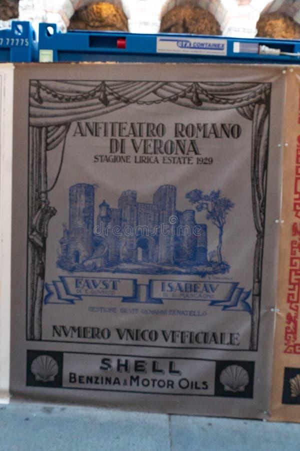 Исторический плакат одного лирического сезона в di Вероне арены стоковая фотография rf