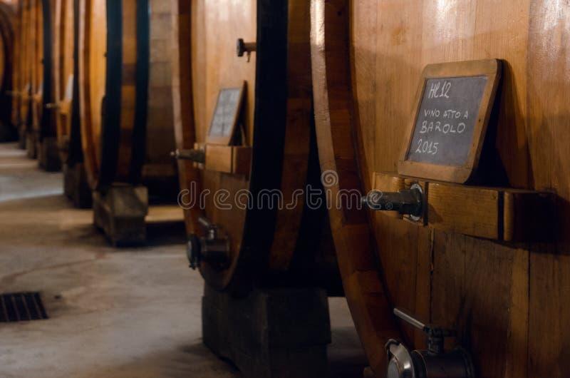 Исторический погреб для вызревания вина barolo стоковое изображение