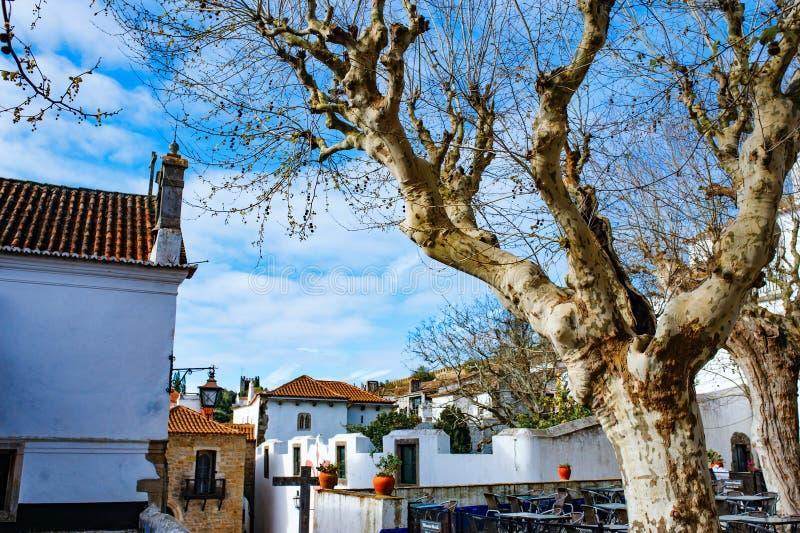 Исторический разбивочный город Obidos, Португалии Известный старый средневековый замок стоковое фото