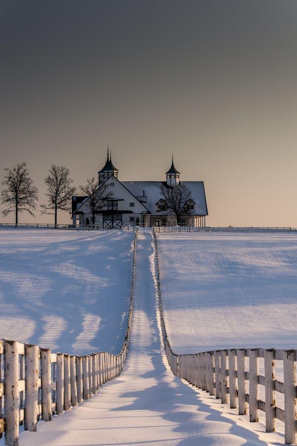 Исторический, снег покрыл амбар фермы Манчестера - Lexington, Кентукки стоковое изображение rf