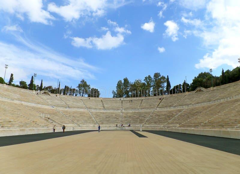 Исторический стадион Panathenaic стал домом первых современных Олимпийских Игр в 1896, археологических раскопок в Афина, Греции стоковые фотографии rf