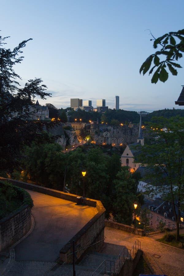 Исторический старый Люксембург с современными новыми зданиями стоковое фото