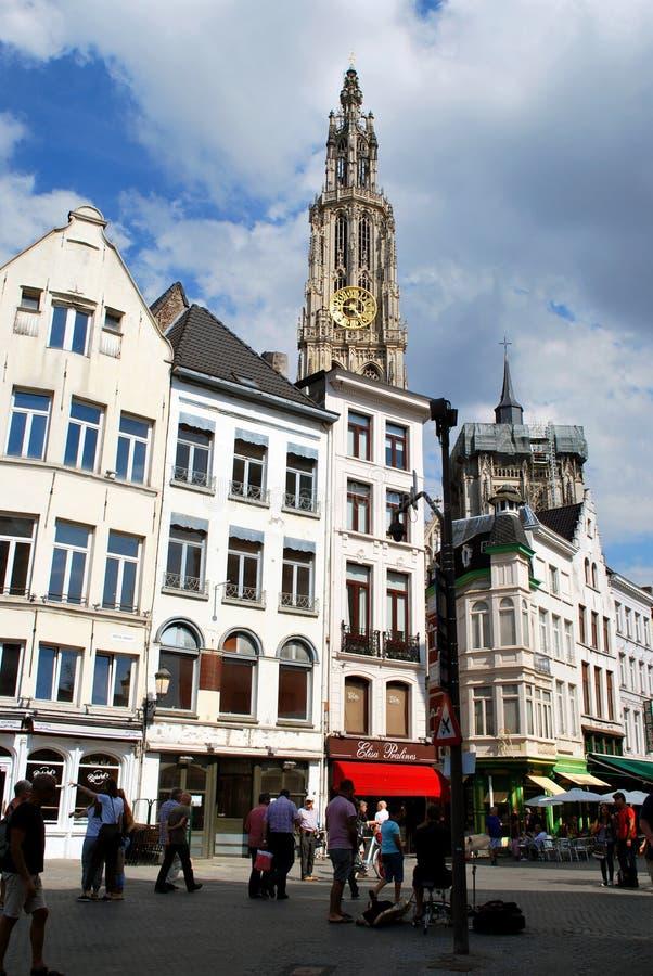 Исторический центр города в Антверпене стоковое фото