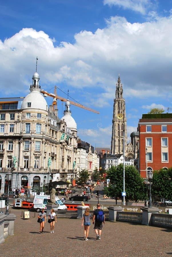 Исторический центр города в Антверпене стоковая фотография rf