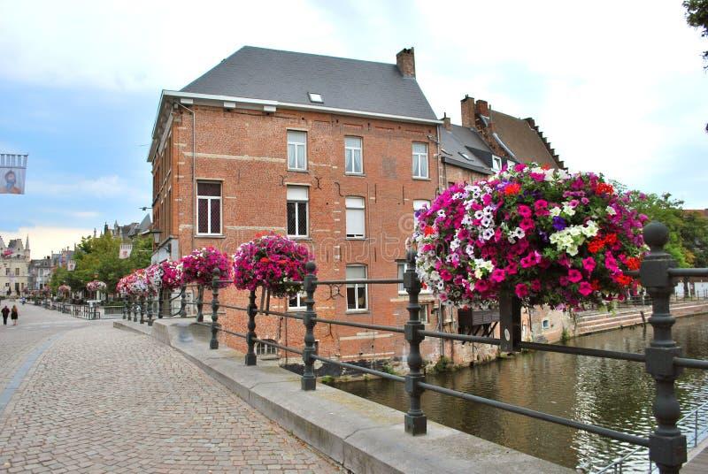 Исторический центр города в Mechelen стоковое изображение
