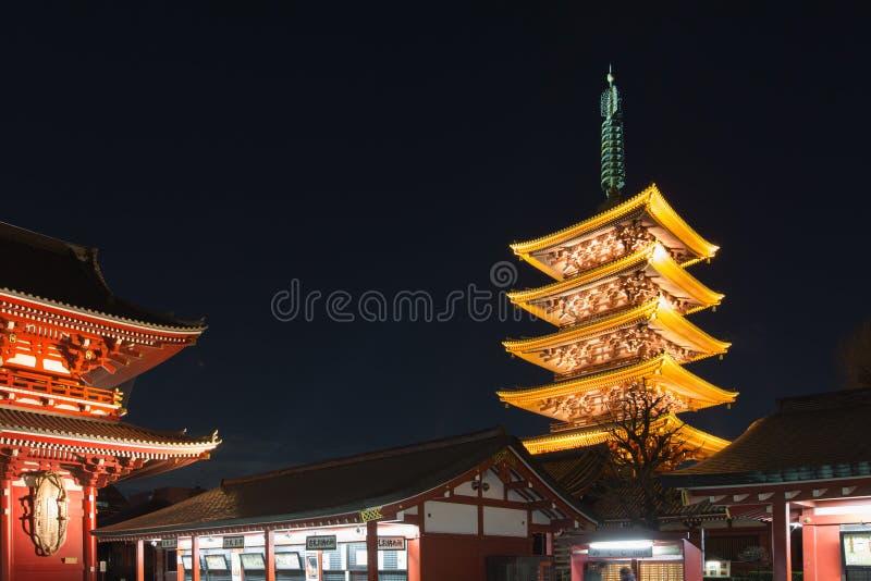 Исторический японский висок на ноче, Sensoji, Asakusa, токио стоковая фотография