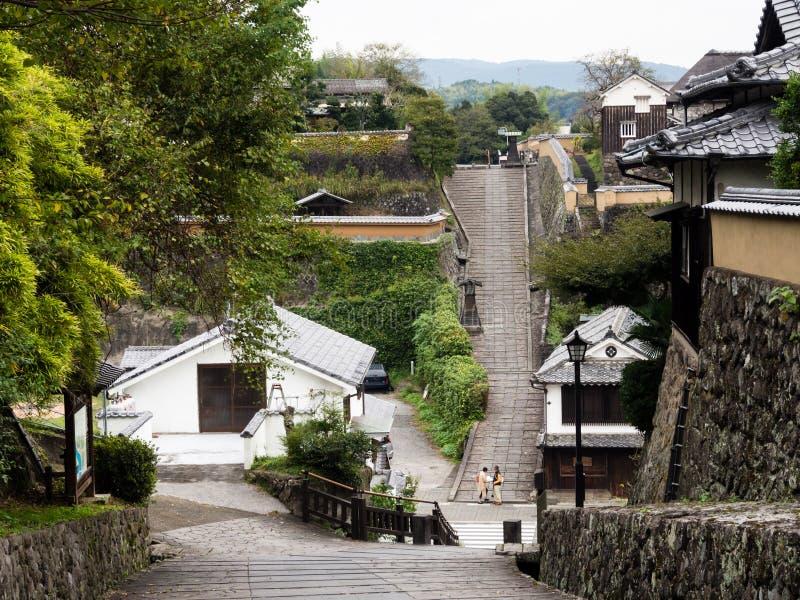 Историческое городское Kitsuki, старый японский городок замка в префектуре Oita стоковая фотография