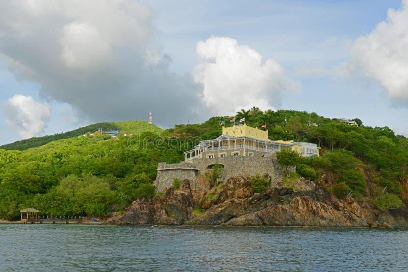 Историческое здание на острове St. Thomas, США Виргинских островах, США стоковое изображение