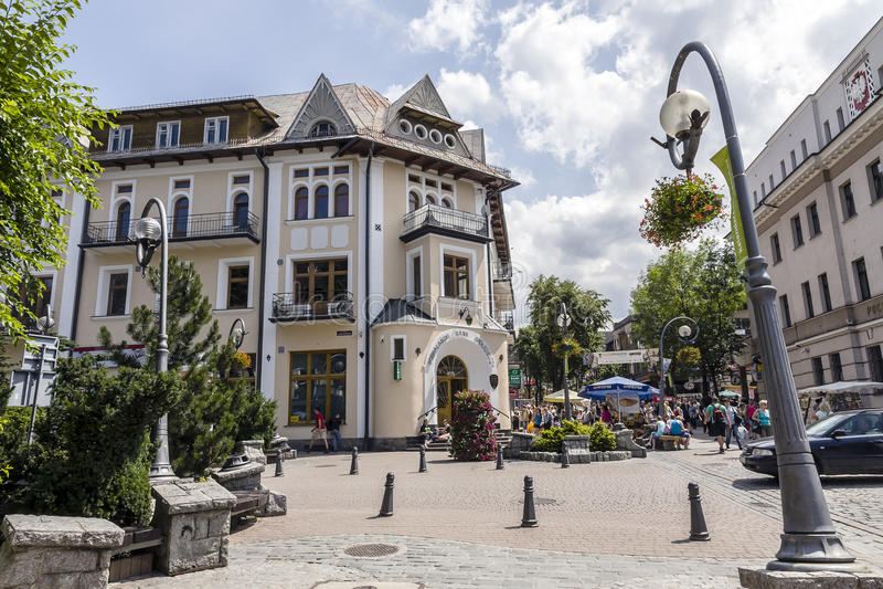 Историческое кирпичное здание в Zakopane стоковое изображение