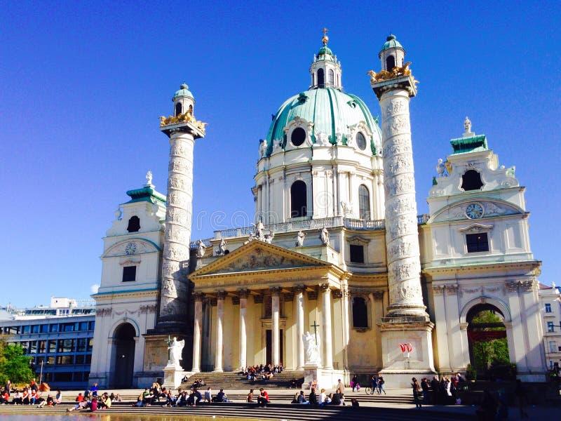 Историческое karlsplatz церков стоковая фотография rf