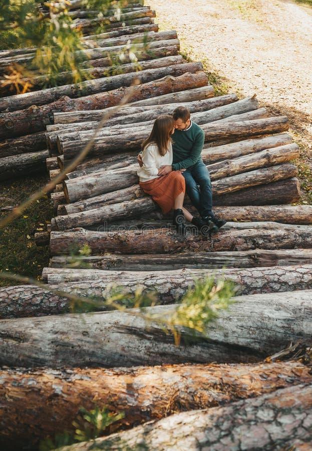 История любви на стеллаже дров и бревен в осеннем лесу стоковые фотографии rf