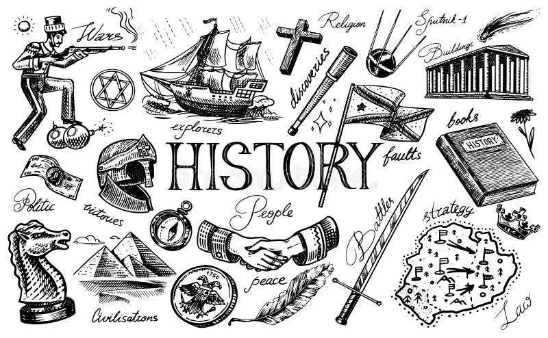 История людей, науки и образования, вероисповедания и перемещения, открытий и старых старых символов Ретро корабль бесплатная иллюстрация