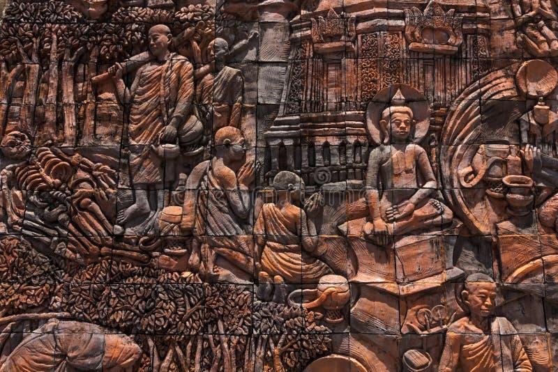 История Buddaha на стене стоковое изображение rf