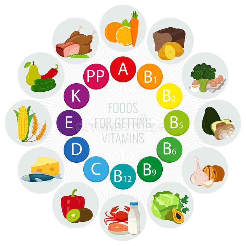 Источники еды витамина Красочная диаграмма колеса с значками еды Здоровая концепция еды и здравоохранения вектор бесплатная иллюстрация