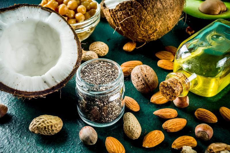 Источники здорового vegan жирные стоковое фото rf