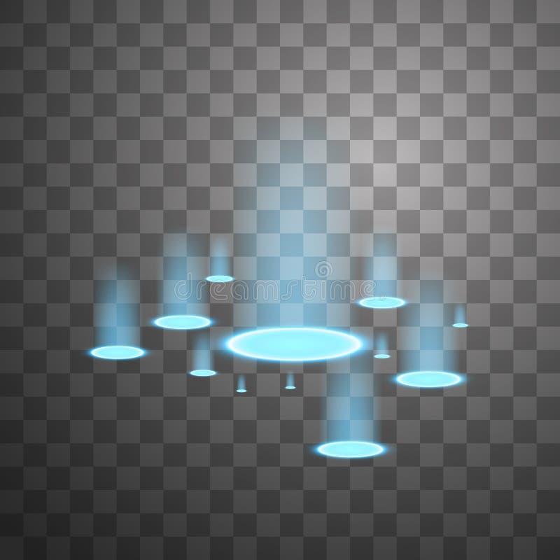 Источники света вектора, освещают контржурным светом Изолированный на черной прозрачной предпосылке r Голубые свечи лучей a иллюстрация штока