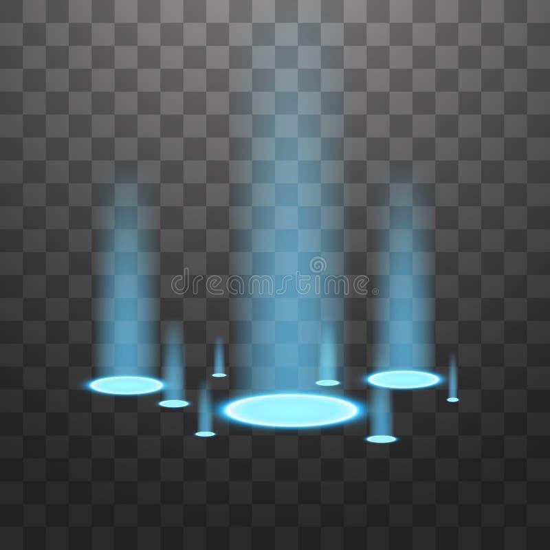 Источники света вектора, освещают контржурным светом Изолированный на черной прозрачной предпосылке r Голубые свечи лучей a бесплатная иллюстрация