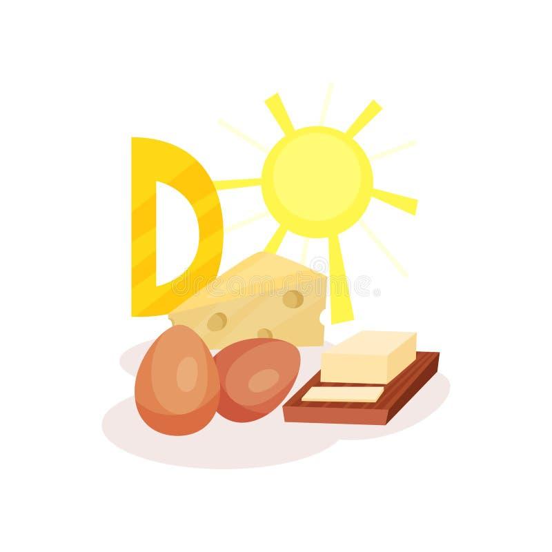 Источники яичек, масла, сыра и солнца цыпленка Витамина D Органические и здоровые продукты Плоский вектор для infographic иллюстрация вектора
