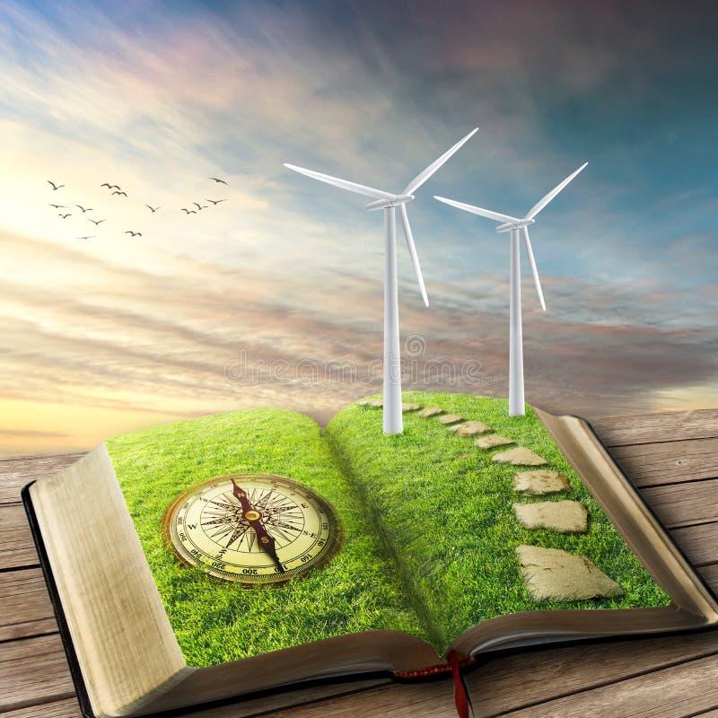 Источник способный к возрождению концепции энергии Генераторы ветра, экологичность стоковая фотография
