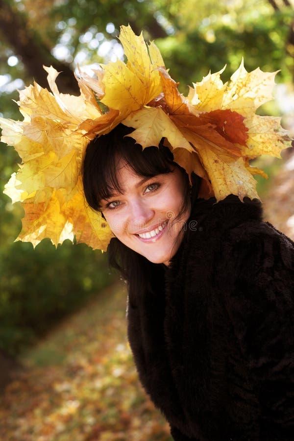 листья брюнет осени золотистые романтичные стоковое фото rf