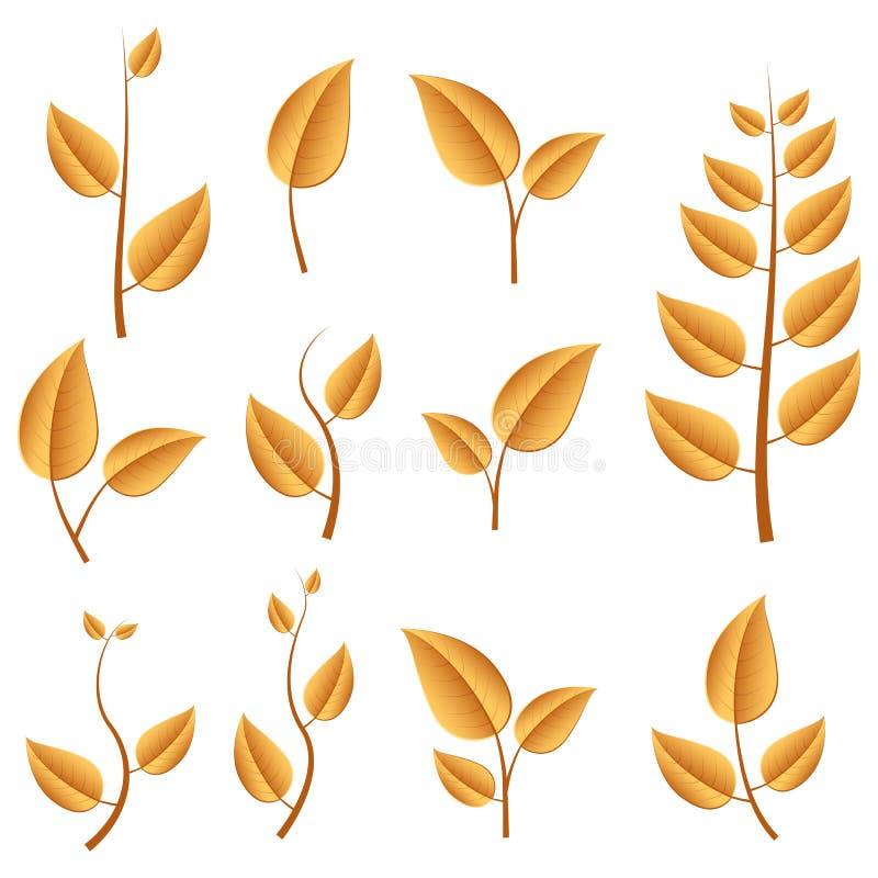 листья осени установили иллюстрация штока