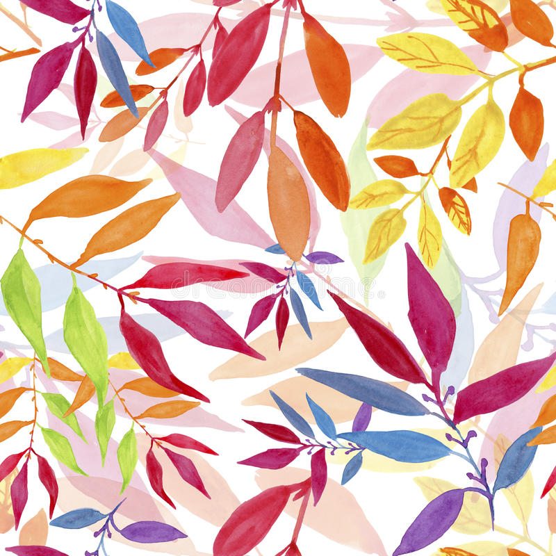 листья осени цветастые делают по образцу безшовное иллюстрация штока