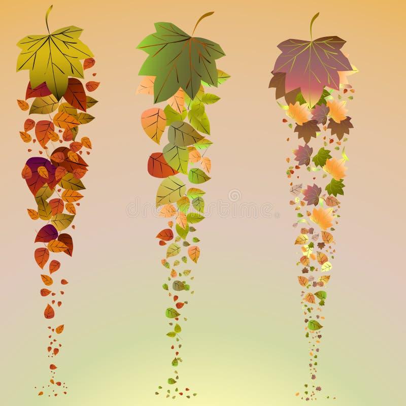 листья предпосылки осени падая Включает вектор EPS 10 иллюстрация штока