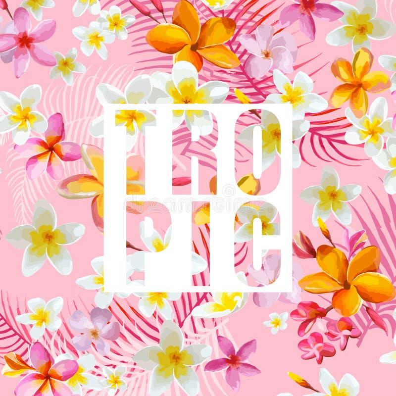 листья цветков тропические Предпосылка вектора Экзотический график иллюстрация штока