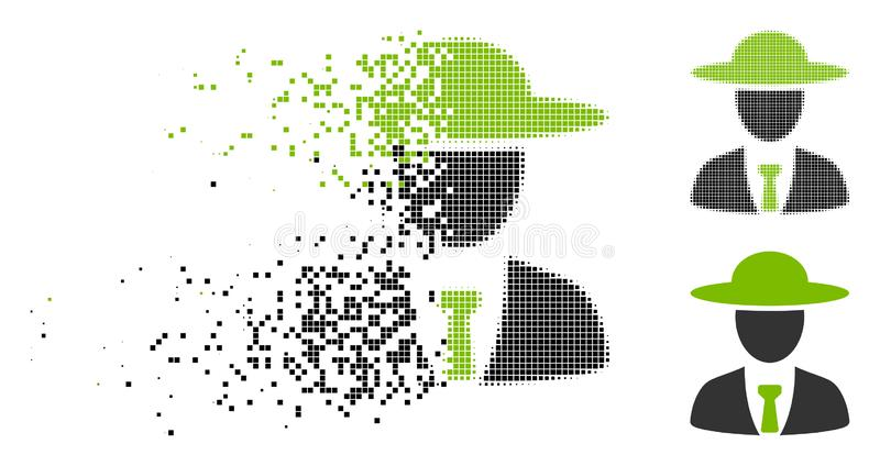 Исчезая значок вождя Agronomist полутонового изображения пиксела бесплатная иллюстрация