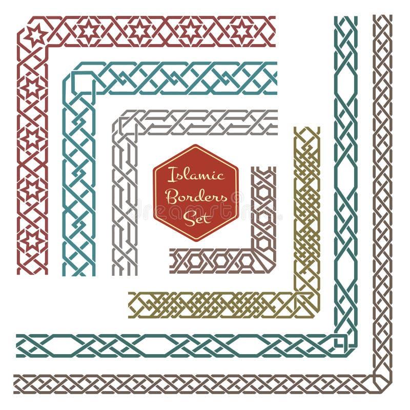 Исламские орнаментальные границы с вектором углов иллюстрация вектора