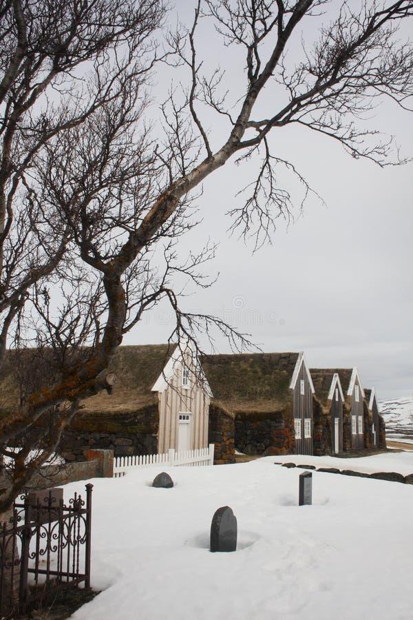 Исландские дома дерновины с деревом в зиме стоковая фотография