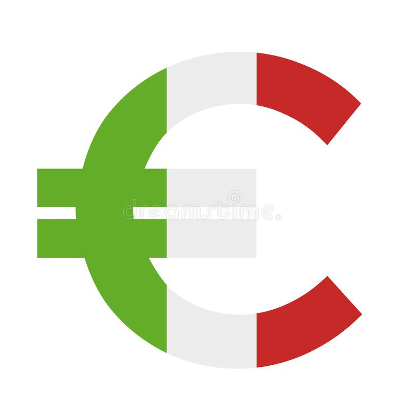Италия, итальянская экономика и еврозона с валютой евро - европейская страна и деньги иллюстрация штока