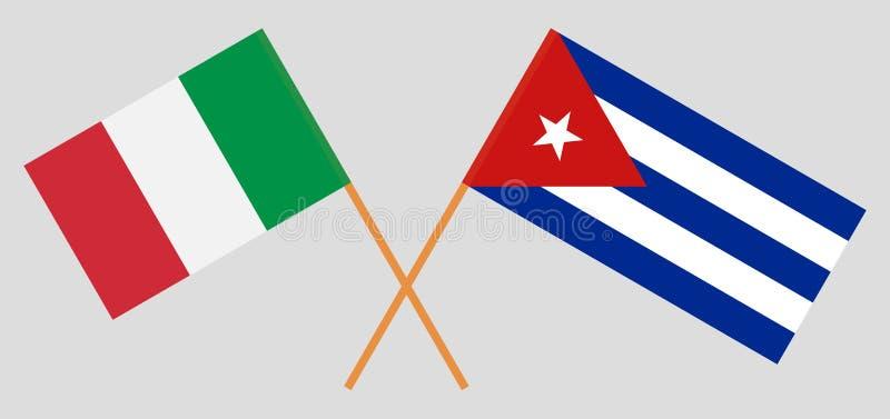 Италия и Куба IItalian и кубинськие флаги E r r иллюстрация штока