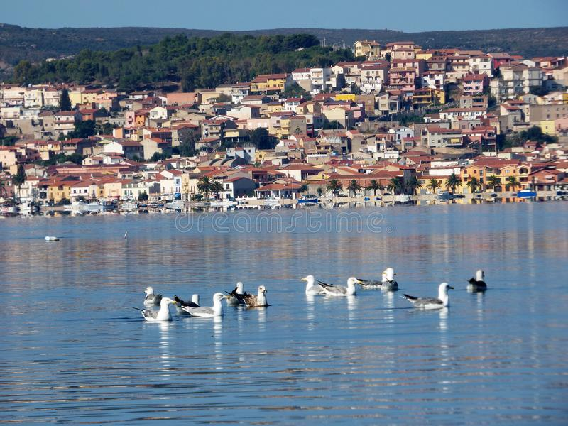 Италия, Сардиния, ` Antioco Sant, взгляд лагуны и на заднем плане деревни Сан Antioco стоковые фото