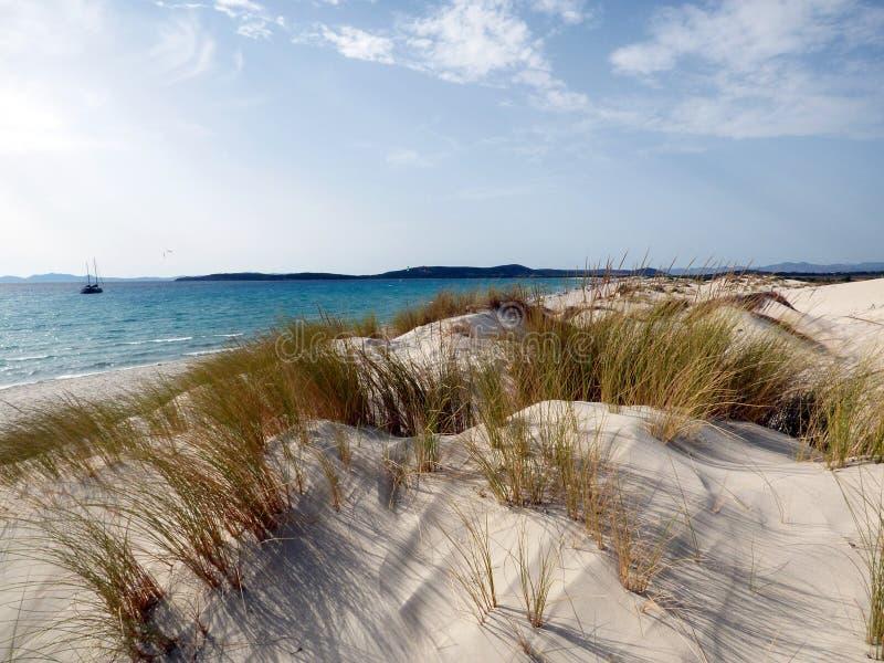 Италия, Сардиния, Carbonia Иглезиас, Порту Pino, дюны приставает к берегу стоковое изображение
