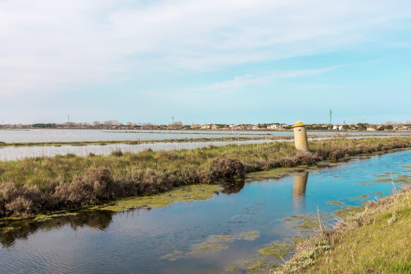 Италия, Cervia, соляная панорама природы стоковая фотография
