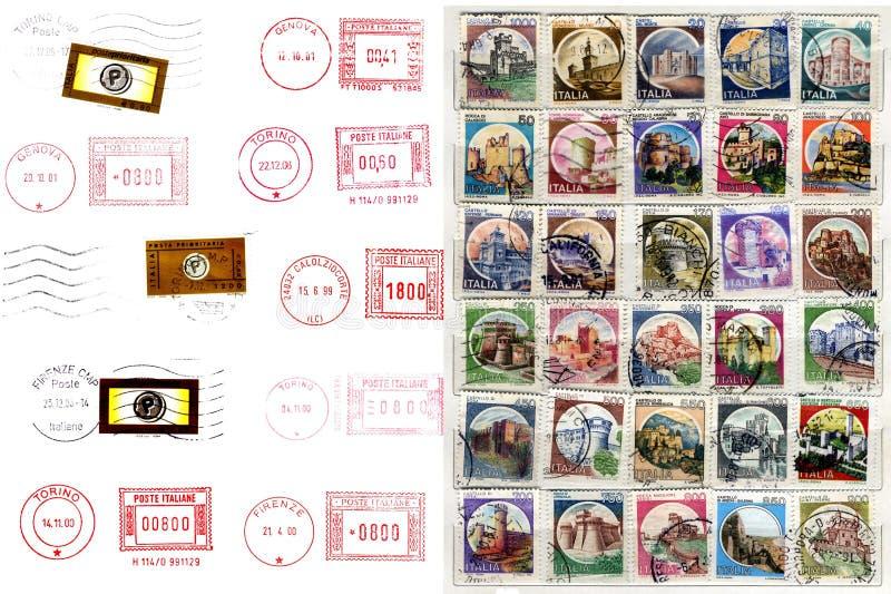 итальянка обозначает штемпеля postmarks столба стоковая фотография