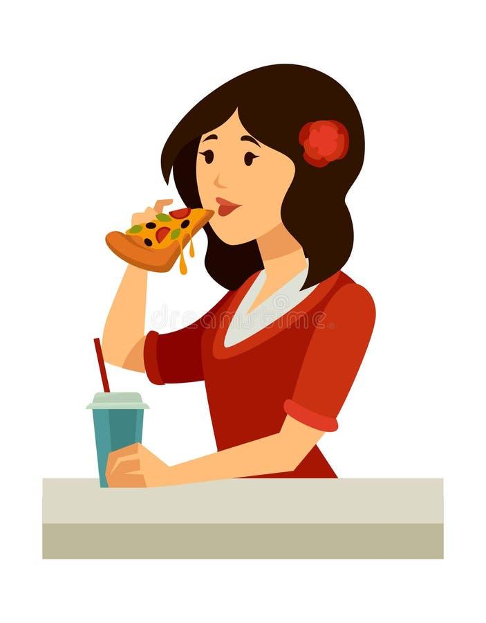 Итальянская женщина с подняла в волосы ест пиццу иллюстрация вектора