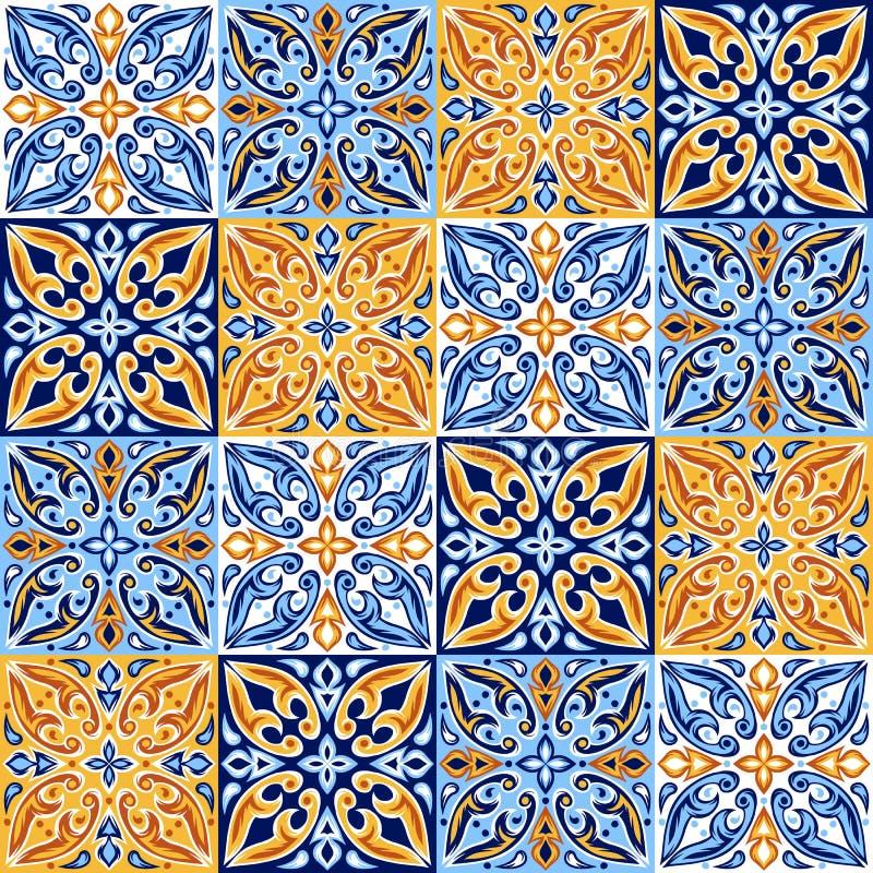 Итальянская картина керамической плитки Этнический фольклорный орнамент иллюстрация вектора