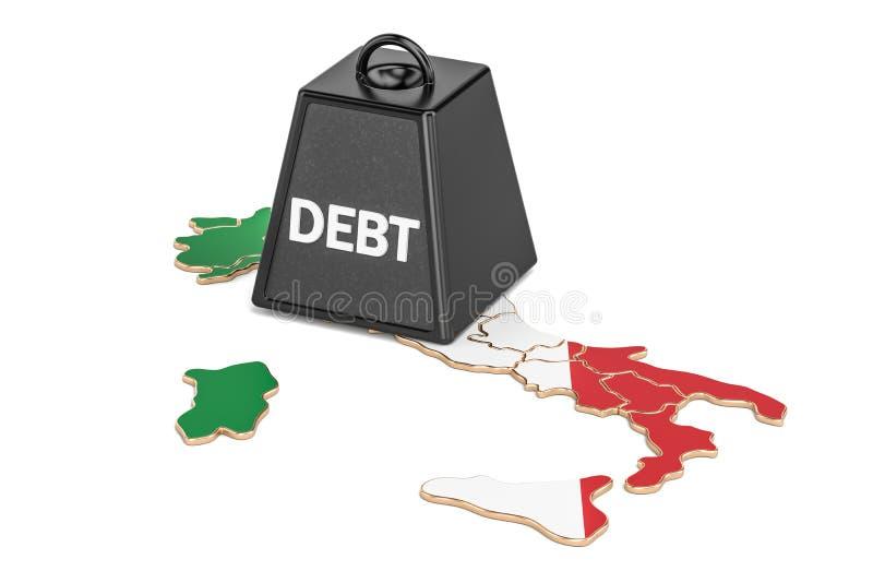 Итальянские государственная задолженность или бюджетный дефицит, concep финансового кризиса иллюстрация вектора