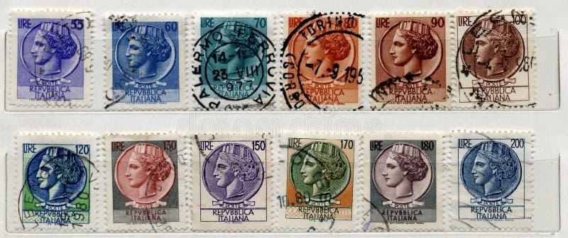 итальянские старые штемпеля стоковые изображения rf
