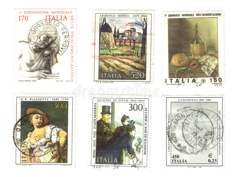 итальянские старые 6 штемпелей стоковое фото