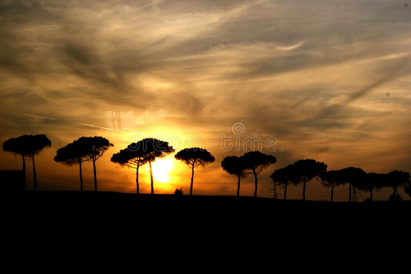итальянский заход солнца силуэта стоковое изображение rf