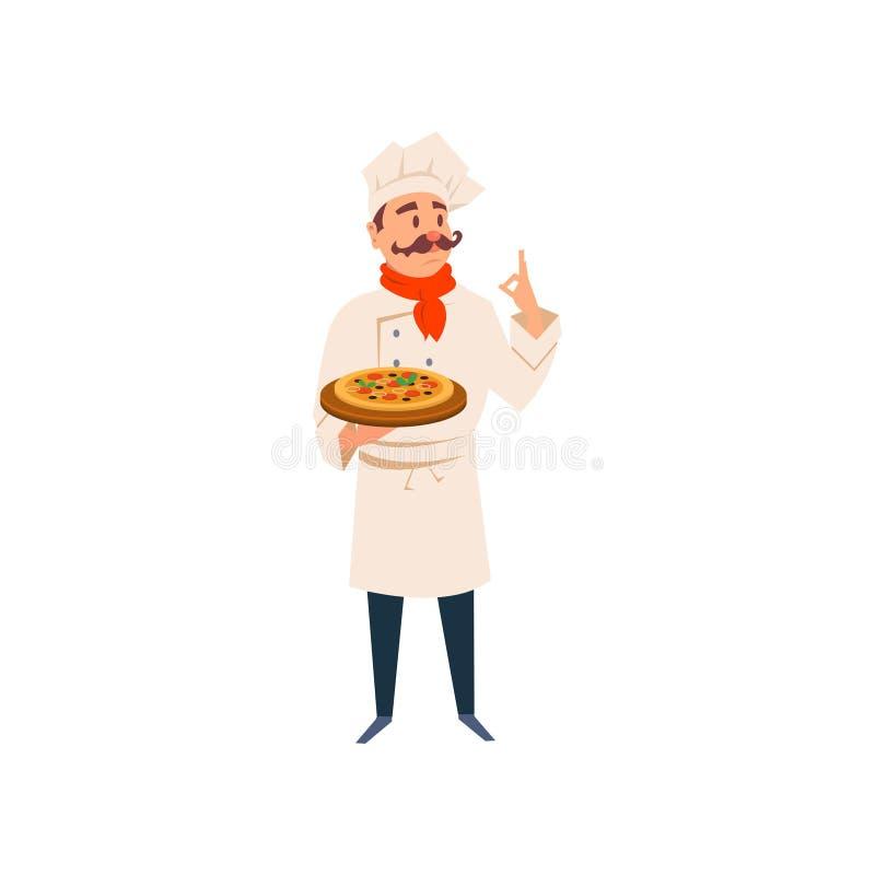 Итальянский шеф-повар держа деревянную доску с традиционной пиццей Характер человека шаржа в форме кухни, шляпе, красном шарфе бесплатная иллюстрация